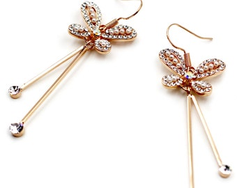 Lovely Butterfly Crystal Earrings …