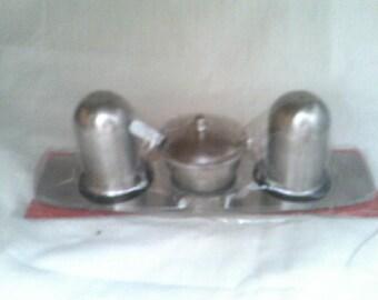 Condiment Set Salt & Pepper Shakers and Mustard Pot