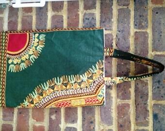 West African design fabric shopper bag
