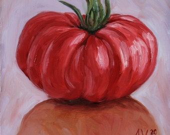 Original Oil Painting Still Life, Heirloom Tomato by Aleksey Vaynshteyn
