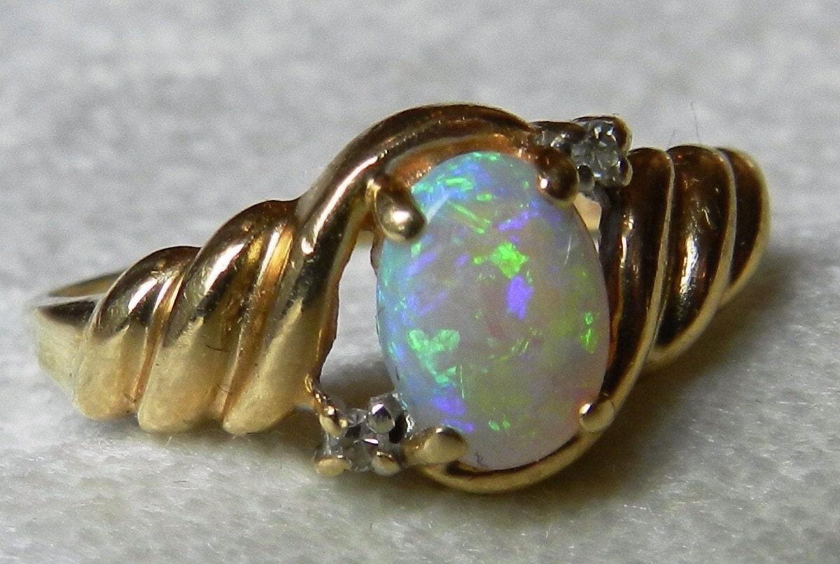 Opal Engagement Ring Fiery 0 47ct Opal set in by DiamondSoulShop