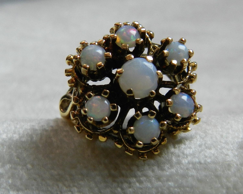 Vintage Engagement Ring Cluster Opal Engagement Firey Opal set
