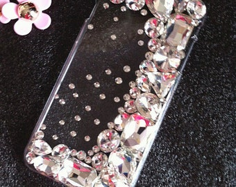 New Bling Clear Crystals Luxury Rhinestones Sparkles Glossy Diamonds Unique Gems Lovely Jewelled Fashion Hard Cover Case for Mobile Phones