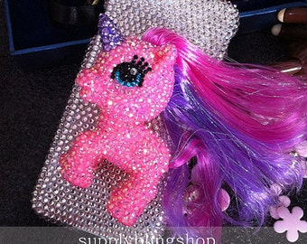 Bling Luxury Pink Girly Lovely 3D Pony With Hair Sparkles Gems Crystals Rhinestones Diamonds Gems Fashion Hard Cover Case for Mobile Phone
