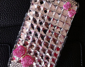 Luxury Bling Pink Bow Girly Clear Sparkles Charms Glossy Gems Crystals Rhinestones Diamonds Fashion Lovely Hard Cover Case for Mobile Phones