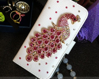 New Bling Luxury Flip Slot Cards Holder Hot Pink Peacock Wallet Leather Sparkles Crystals Rhinestones Diamonds Fashion Case for Mobile Phone