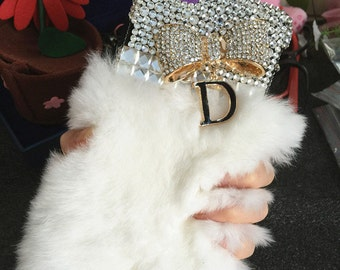 Luxury Bling White Soft Fluffy Fur Furry Sparkles Golden Bow Letter D Pendant Crystals Rhinestones Diamonds Hard Cover Case for Mobile Phone