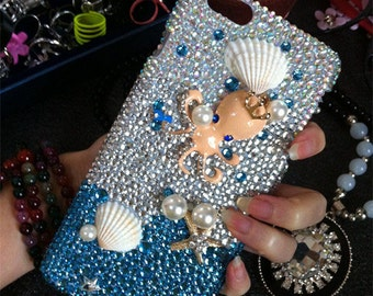 New Bling Luxury Ocean Blue Octopus Shell Charms Sparkles Crystals Rhinestones Diamonds Gems Fashion Lovely Hard Cover Case for Mobile Phone