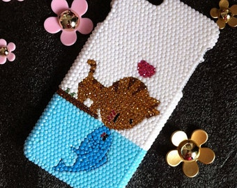 New Bling Cute Kiss Cat Fish Sparkly Chic Gems Pearls Rhinestones Diamonds Gemstone Fashion Lovely Hard Cover Case for Various Mobile Phones