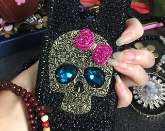 New Lovely Bling Punk Metal Bronze Skull Blue Eyes Sparkles Pink Bow Crystals Rhinestones Diamond Fashion Lovely Cover Case for Mobile Phone