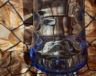 """Blue hue glass Vase, 10"""", Stemmed"""