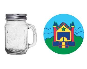 Bounce House Jar.  Birthday. 8 oz jar.16 oz jar. Party Favor. Jump. Red. Blue. Green. Yellow