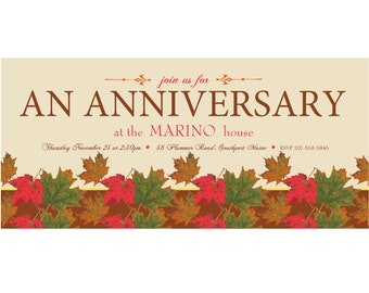 Personalized Printed Fall Anniversary Party Invitations. Fall leaves. Orange. Red. Green. Brown. Milestone. 5th. 10th. 25th. 30th. 40th