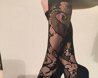 Stretch Lace Trouser Socks Knee Highs Black Lace Knee High Lace Hosiery Fishnets Socks Elegant Stockings Fashionable Evening Legwear  Lace