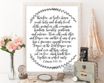 Colossians 3:12-14 Bible verse Scripture typography print Christian teen room nursery bible verse perfect unity wedding verse wedding sign