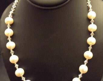 8 mm fresh water pearl necklace with Swarovski crystals and sterling silver