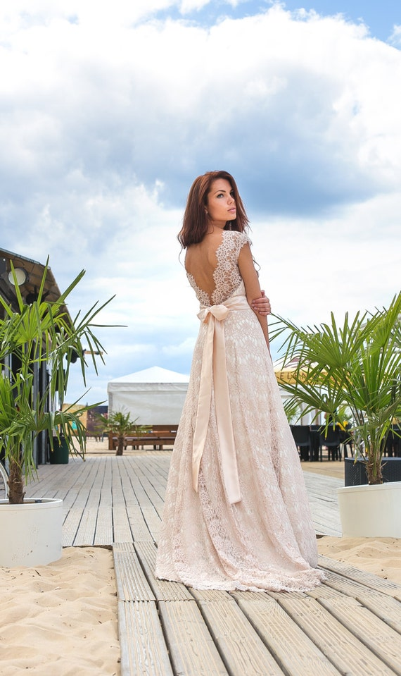 Cream color boho a line vintage inspired fully lace wedding for Simple cream colored wedding dresses