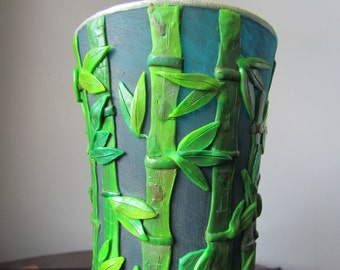 Polymer clay vase,Bamboo vase,Polymer Clay on glass,Flower vase,Decorated vase,Painted Glass Vase,Bamboo Forest