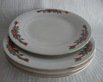Four Fairfield Poinsettia Ribbon Fine China Plates