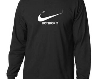 Just Hook It Classic Design Long Sleeve Fishing T-Shirt Men All Sizes & Colors (950)
