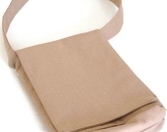 Mini iPad Messenger Bag | Magnetic Closure tan bag