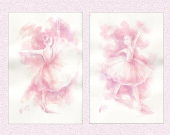 Watercolor painting Ballerinas diptych, lavender purple lovely ballet dancer wall decor gift, original art set of 2 watercolours