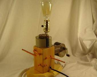 Vintage Re purposed Pencil Sharpener Light - Working Pencil Sharpener and Lamp - OOAK Unique Up cycled Light - Edison light ,Berol Sharpener