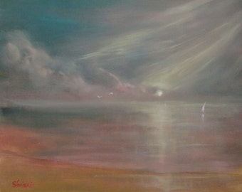 "Original Abstract Painting 40x50cm(16x20 Inch) Oil on Canvas ""Dawn over the sea"""