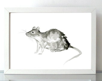 Rat art - Watercolor painting - Ink drawing - giclee Print - Animal Painting -  Year Animal Chinese zodiac Rat - Zen art - sumi e Black Ink