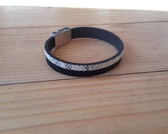Black and White leather cuff