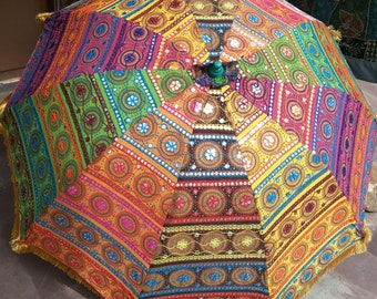 garden umbrella big size  ,beach umbrella with colourful embroidery diameter size 6 ft(72 inch),lawn umbrella ,wedding decoration umbrella