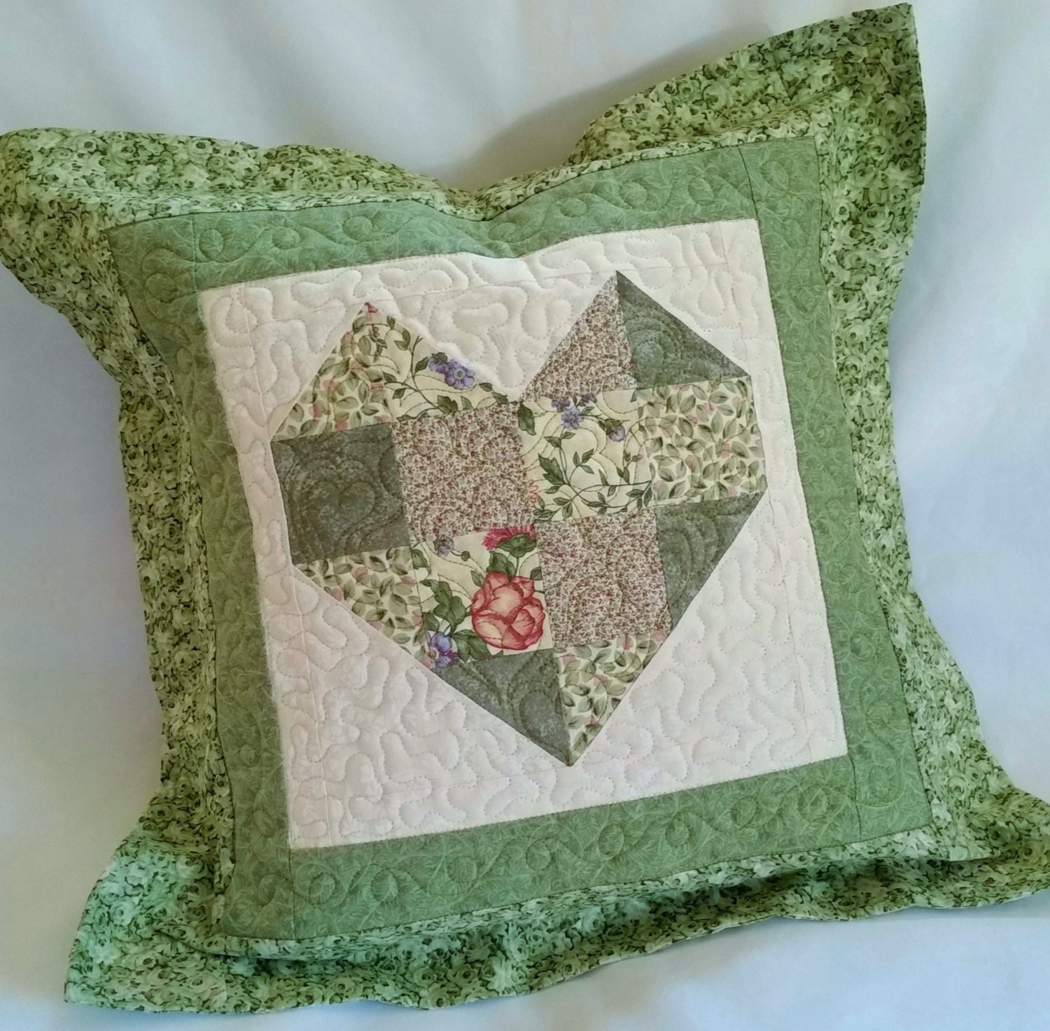 Shabby Chic Heart Pillows : Green Floral Heart Pillow Shabby Chic Quilted Pillow Cushion