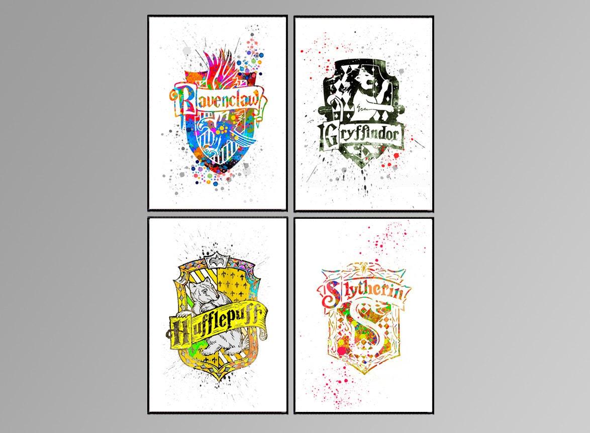 vier wappen von hogwarts harry potter malerei aquarell. Black Bedroom Furniture Sets. Home Design Ideas