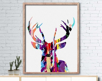 Contemporary printable deer poster 50x70 - deer wall art - deer head printable - INSTANT DIGITAL DOWNLOAD