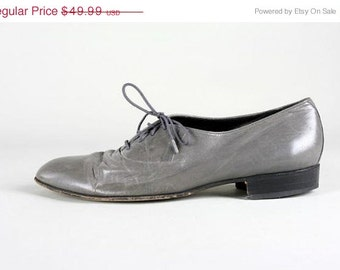 ON SALE Vintage Florsheim Gray Leather Oxford Shoe 9.5 EEE
