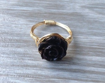 Black Rose Wire Wrapped Ring