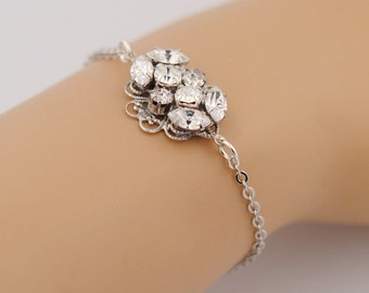 Wedding bracelet rhinestones - bridal jewelry - crystal wedding bracelet - Swarovski bracelet - small wrist - Idaho bracelet