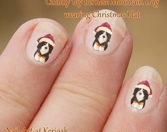 Christmas Cuddly Bernese Mountain Dog Nail Art Stickers, wearing santa hat, cute nail stickers, Decals, simple to use, fun gift