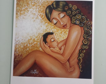 "Breastfeeding - High Quality Archival Print of the original painting ""World of Feelings"""