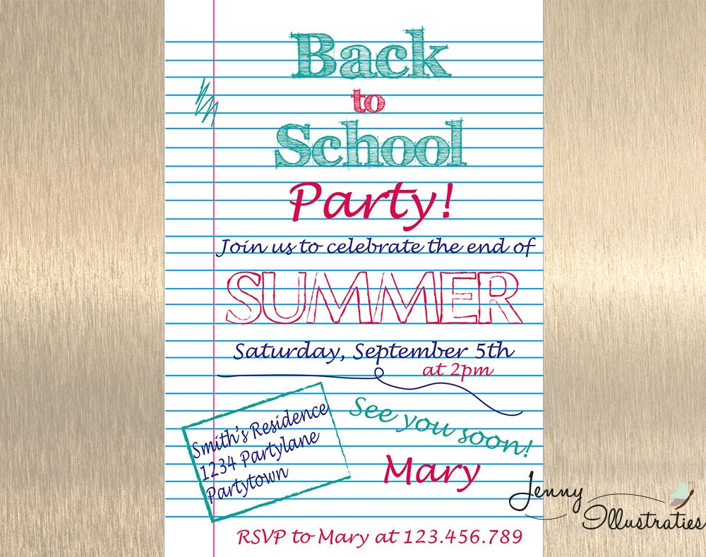 end of summer party invitation back to school party. Black Bedroom Furniture Sets. Home Design Ideas