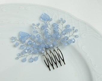 Blue wedding hair comb Blue bridal headpiece Blue wedding hair accessories Blue bridal hair comb Blue crystal hair comb Blue comb