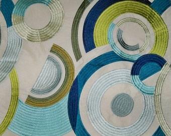 JACK LARSEN EMBROIDERED Retro Art Deco Circles Fabric 10 Yards Aqua Blue Green Multi White