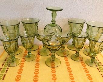 Imperial Old Williamsburg Verde Green Goblets Complete Set of 12