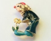 Vintage 1970s Clown and Flower Figurative Brooch Enamel and Gold Tones