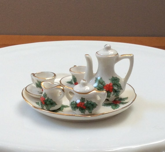 Miniature Christmas Tea Set Holly Berries Dollhouse Dishes