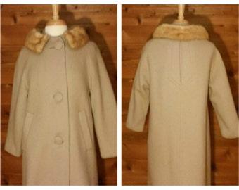 Women's Vintage Coat, Fur Coat, Mink collar coat, Maxi coat, Swing coat, Long coat, Dressy coat, Vintage Mid-century coat, Mink coat