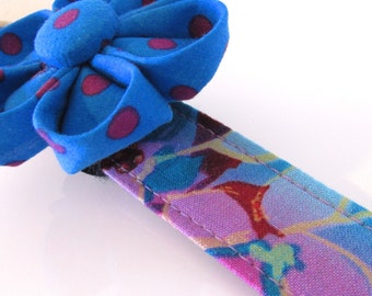 Hawaiian Tropic Floral Dog Collar, Large Dog Collar, Female Dog Collar, Girl Dog Collar, Custom Dog Collar, Purple Dog Collar, Feminine Dog