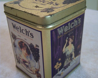Welch's grape juice tin/Westfield NY/Vintage metal tin/Advertising tin/Kitchen decor