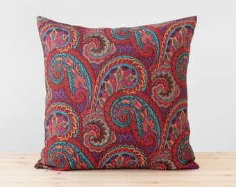 Boho Pillow Colorful Paisley Throw Pillows in Turquoise, Purple, Red, Black and Rust Bohemian Decor Hippie Jacquard Woven Boho Cushion Cover