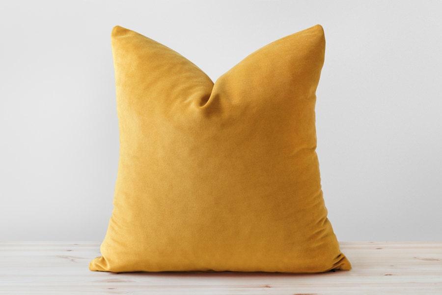 Yellow velvet pillow | Etsy